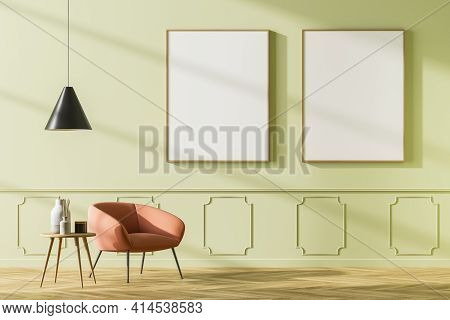 Cosy Waiting Room Interior With Comfortable Armchair, Small Coffee Table And Two Empty White Poster