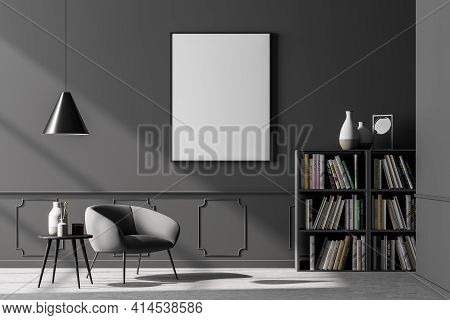 Cosy Waiting Room Interior With Comfortable Armchair On The Left Side, Empty Poster On The Grey Wall
