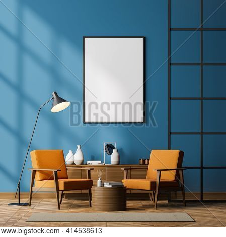 Contemporary Waiting Room Interior With Two Cosy Armchairs, Glass Lattice Partition, Empty Poster On