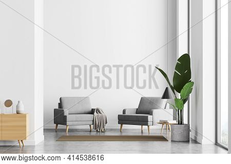 Bright Sunny Waiting Room Interior With White Empty Wall, Panoramic Window, Comfortable Armchair, Lu