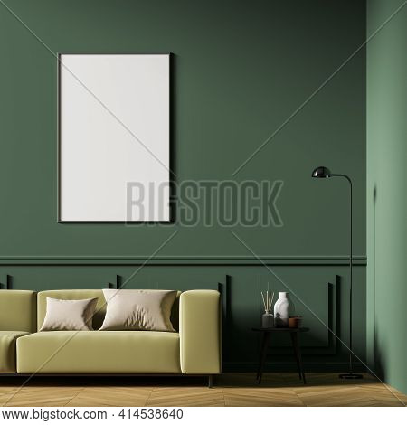 Scandinavian Living Room Interior With A Beige Sofa Located On Oak Wooden Parquet Floor, Small Cosy