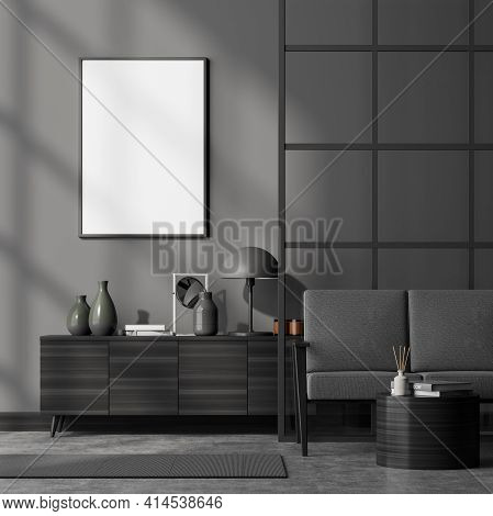 Modern Living Room Interior Including Cosy Comfortable Sofa, Glass Lattice Partition, Sideboard, Pos