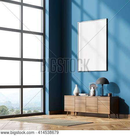 Corner View Of Living Room Interior With A Panoramic Window, Oak Wooden Parquet Floor, Empty White P