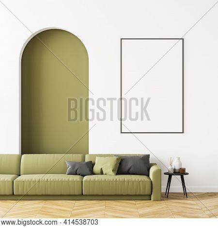 Living Room Interior With A Beige Sofa On Oak Wooden Parquet, Cosy Coffee Table And White Poster Nea
