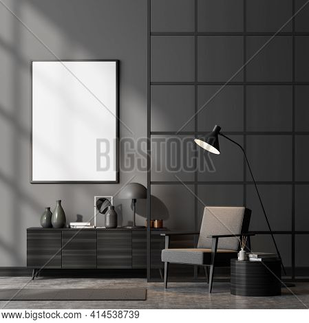 Modern Living Room Interior Including Cosy Armchair, Glass Lattice Partition, Sideboard, Empty Poste