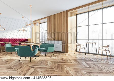 Modern Luxury Cafe Interior With Chairs And Table With Window, Side View. Wooden Floor, Minimalist D
