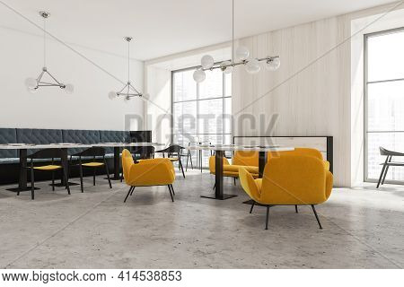 Modern Luxury Cafe Interior With Chairs And Table With Window, Side View. Concrete Floor, Minimalist