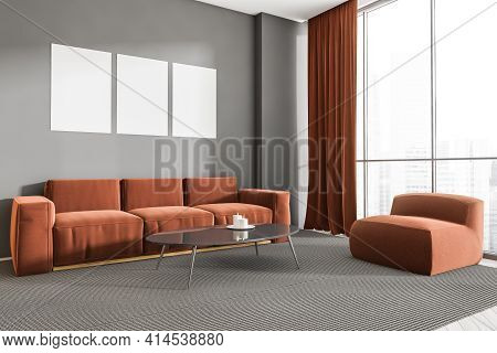 Home Interior With Couch And Ottoman On Grey Carpet, Coffee Table With Candle. Minimalist Room With