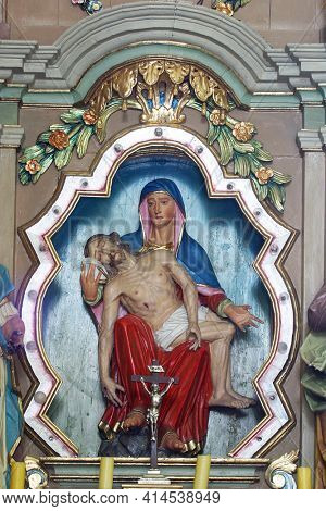 SVETI PETAR MREZNICKI, CROATIA - JULY 14, 2013: Altar of Our Lady of Sorrows in the Parish Church of St. Peter in Sveti Petar Mreznicki, Croatia