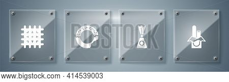 Set Chocolate Bar, Candy, Donut And Cracker Biscuit. Square Glass Panels. Vector
