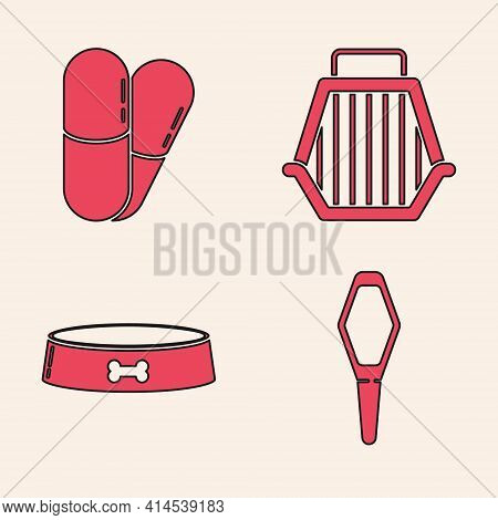 Set Pets Vial Medical, Dog And Pills, Pet Carry Case And Pet Food Bowl Icon. Vector