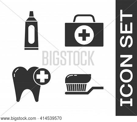 Set Toothbrush With Toothpaste, Tube Of Toothpaste, Tooth And First Aid Kit Icon. Vector