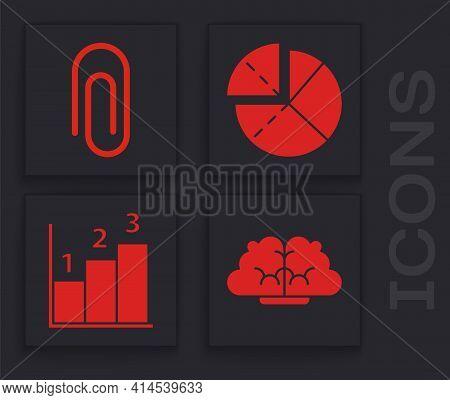 Set Human Brain, Paper Clip, Graph, Schedule, Chart, Diagram And Graph, Schedule, Chart, Diagram Ico