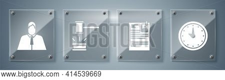 Set Clock, Lawsuit Paper, Judge Gavel And Lawyer, Attorney, Jurist. Square Glass Panels. Vector