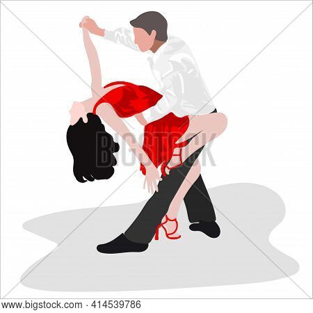 A Couple Dancing Tango. Illustration Isolated On White Background.