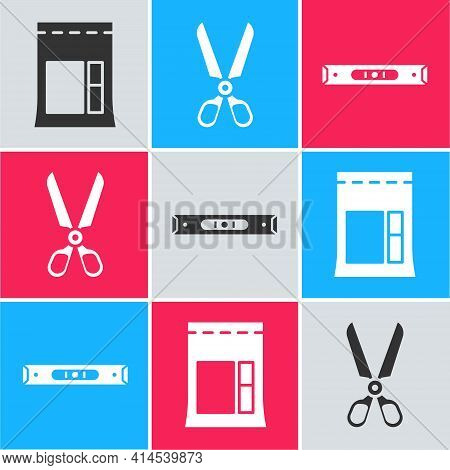 Set Cement Bag, Scissors And Construction Bubble Level Icon. Vector
