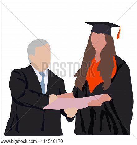 Girl Is A Graduate Of The University Awarded A Diploma. The Professor Presents A Diploma To A Gradua