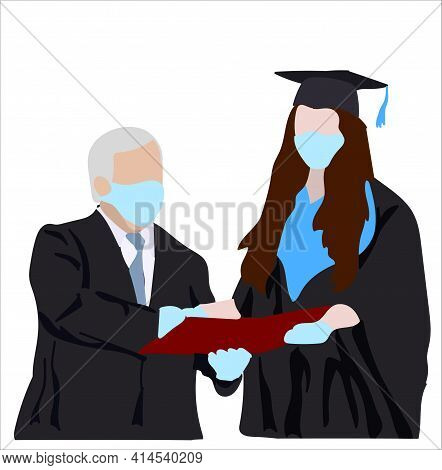 Girl Is A Graduate Of The University Awarded A Diploma. The Professor In Medical Masks And Gloves Pr