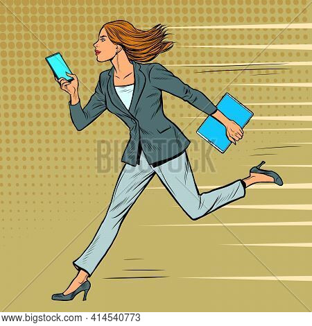 A Businesswoman Runs With A Smartphone. Modern Woman At Work