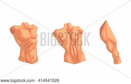 Body Parts With Torso And Muscled Leg Vector Set