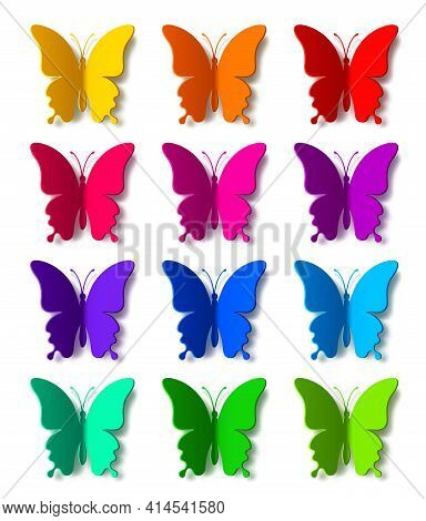 Twelve Colored Paper Butterflies With Vector Shadow Isolated On White Background. Silhouette Of A Bu