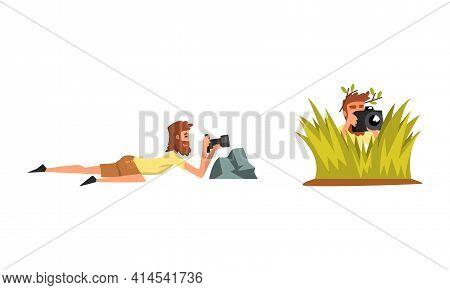 Bearded Man Paparazzi Or Photographer Hiding With Photo Camera Vector Set