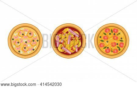 Pizza As Savory Italian Dish With Round Flattened Dough Topped With Sliced Tomatoes And Bacon Strips