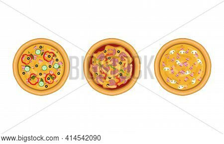 Pizza As Savory Italian Dish With Round Flattened Dough Topped With Sliced Wurst And Bacon Above Vie