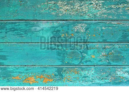 Wooden Background With Teal Blue Colored Old Weathered  Planks With Chipped Paint