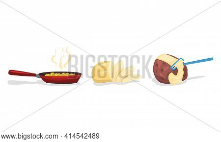 Fried Potato In Frying Pan And Raw Peeled Tuber As Food Ingredient Vector Set