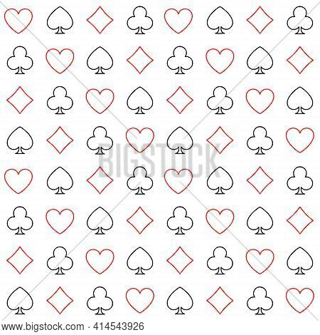 Seamless Pattern With Contour Suits Of Playing Cards On A White Background. Vector Outline Illustrat