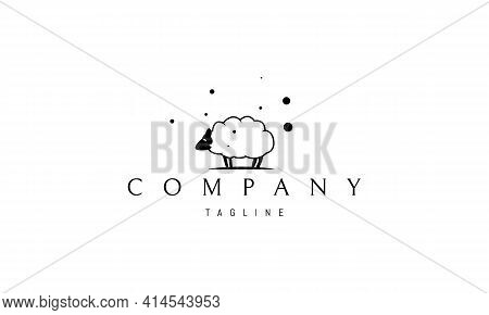 Vector Logo On Which An Abstract Image Of A Funny Sheep.