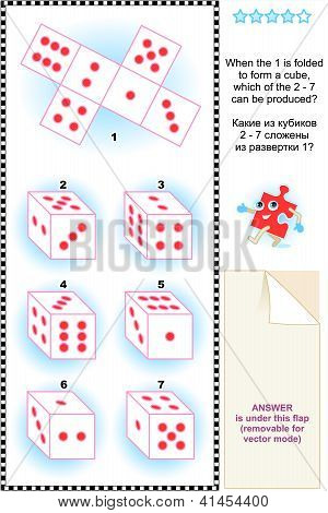 Visual math puzzle with dice cubes