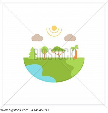 Species Diversity Flat Icon.describe Diversity Of Living Species. Included Insects, Animals, Plants,