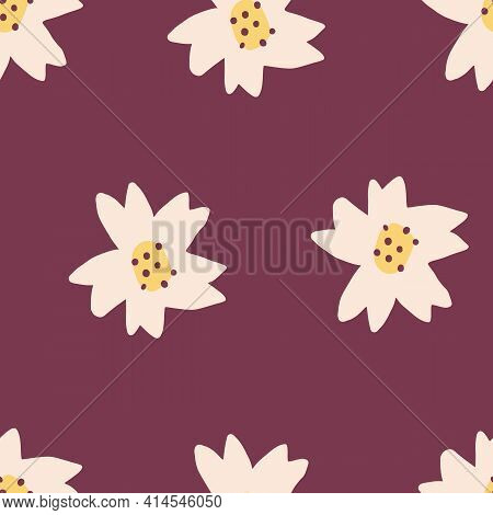 Cute Repeat Tulip Wildflower Pattern With Maroon Red Background. Seamless Floral Pattern. White Tuli