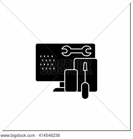 Coding Toolkit Glyph Icon. Software Development Tools. Instruments For Creating Programming Code. Co