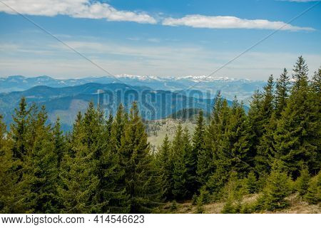 Panoramic View Of Picturesque Carpathian Mountains Landscape With Forest Slopes, Mountain Ranges And