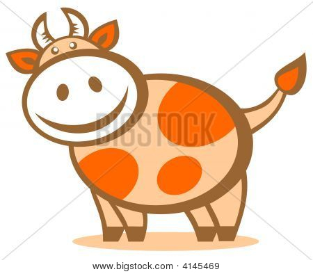Cartoon cheerful happy cow isolated on a white background. Zodiac sign. poster