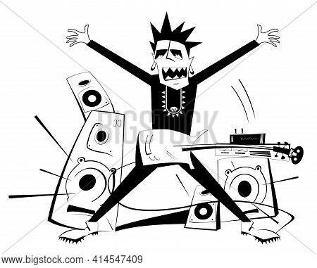 Cartoon Guitar Player Black On White Isolated Illustration. Expressive Guitarist Plays Loud Music Us