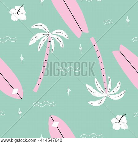 Seamless Pink And Green Palm Trees Pattern With Tropical Flower. Repeating Vector Beach And Surfing