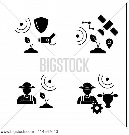 Smart Farm Glyph Icons Set. Consist Of Agronomist, Animal Breeder, Cctv, Gps Geofencing.agricultural