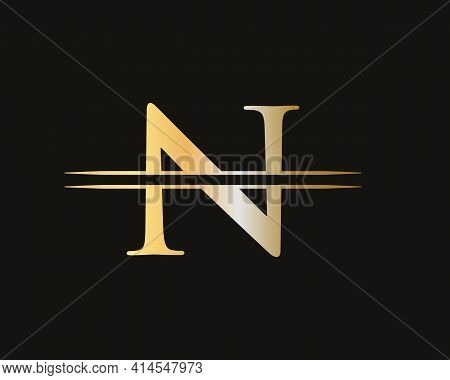 N Logo Design For Business And Company Identity. Creative N Letter With Luxury Concept