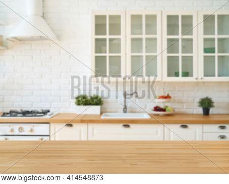 Kitchen Interior With Kitchen Utensils And Kitchen Stove. Kitchen Background. Scandi Style.