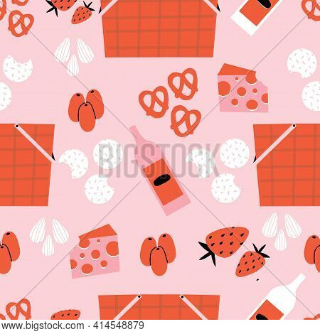 Pink And Red Picnic Seamless Repeat Pattern With Picnic Baskets, Olives, Almonds, Pretzels, Cheese,