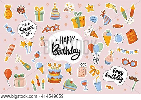 Happy Birthday Cute Stickers Template Set. Bundle Of Cake, Drink, Gift, Decorations, Objects. Festiv
