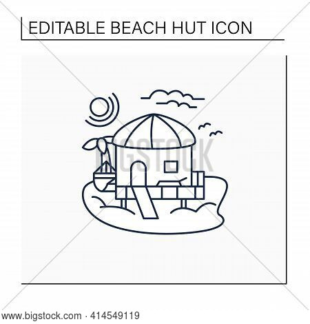 Beach Hut Line Icon.tropical Comfortable Bungalow On Beach. Round Roof. Palms, Seascape. Relaxing Pl