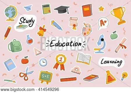 School And Education Cute Stickers Template Set. Bundle Of Textbooks, Stationery Supply, Science, St