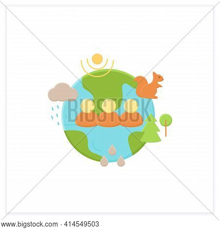 Humans And Ecosystem Flat Icon.people Impact Ecosystem. Protection Flora, Fauna. Saving Animals, Pla