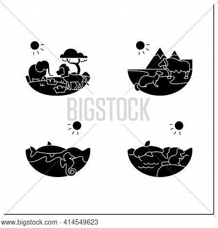 Biodiversity Glyph Icons Set. Consists Of Desert, Savana, Tundra, Freshwater, Marine Ecosystems. Bio