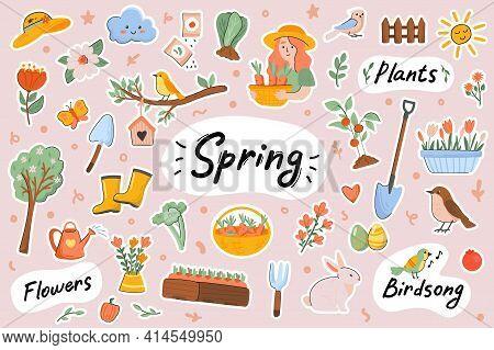 Spring Cute Stickers Template Set. Bundle Of Springtime Symbols, Easter, Blooming Flowers, Birds Sin